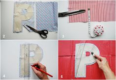 mamas kram: Instructions for Letter Pillows Quilting Tutorials, Sewing Tutorials, Sewing Crafts, Sewing Projects, Fabric Letters, Felt Letters, Cute Pillows, Diy Pillows, Sewing For Kids