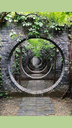 Garden Gates, Garden Art, Beautiful Places To Travel, Beautiful Scenery, Sacred Geometry Patterns, Moon Gate, Small Garden Design, Stone Work, Landscape Architecture