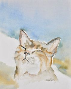 Oh Boy, Sun Spot! Just what every cat looks for... Watercolor painting by Lynda Nolte
