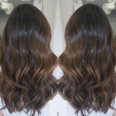 dark chocolate brown hair with brown balayage