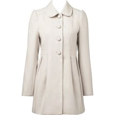 Forever New Abbie Single Breasted Coat ($72) ❤ liked on Polyvore featuring outerwear, coats, jackets, blonde, full length coat, single breasted coat, white coat and forever new
