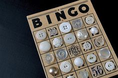 Bingo Buttons Studies in white on black. Vintage bingo card buttons, purchased this way.Photographed on blackboard fabric. Balloon Party Games, Button Cards, Button Button, Button Game, Bingo Chips, Balloon Drop, Kids Pop, 4 Kids, Party Activities
