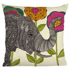 Multicolor throw pillow with an elephant motif. Made in the USA.    Product: PillowConstruction Material: Polyester cover and polyester fillColor: MultiFeatures:  Designed by Valentina Ramos for DENY DesignsPrinted on front and backInsert includedMade in the USA Cleaning and Care: Spot clean with mild detergent