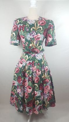 Vintage floral dress green cotton M  | Clothing, Shoes & Accessories, Women's Clothing, Dresses | eBay!
