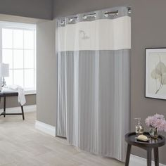 Hookless Park Avenue Striped Shower Curtain In Silver