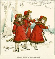 girls in winter coats going off to ice skate 1910