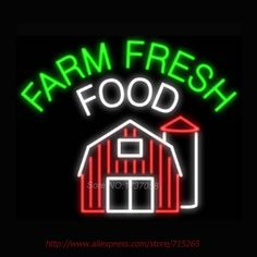 Farm Fresh Food Neon Sign Store Display Sign Neon Bulbs Design Real Glass Tube Gifts Garage sign Recreation Room 30x24 #Affiliate
