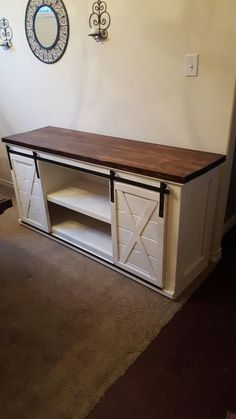 17 DIY Entertainment Center Ideas and Designs For Your New Home Entertainment Center with sliding Barn doors Home Entertainment Centers, Home Diy, Furniture Diy, Diy Furniture, Furniture, Home Goods, Interior, Home Decor, Barn Doors Sliding