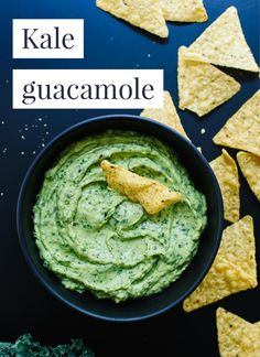 This kale guacamole recipe is delicious, nutritious and so easy to make! I made that text overlay with this post's sponsor, Adobe Spark Post (it's a free app)! cookieandkate.com
