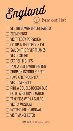 England - bucket list TEMPLATE