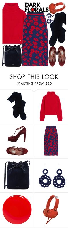 """""""winter red & navy"""" by to-rayray ❤ liked on Polyvore featuring Pendleton, Versace, L'Autre Chose, Baum und Pferdgarten, Mansur Gavriel, NOVICA, Tom Ford, Sony and darkflorals"""