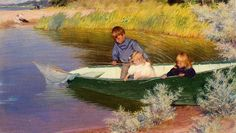 Charles Courtney Curran    Children Fishing