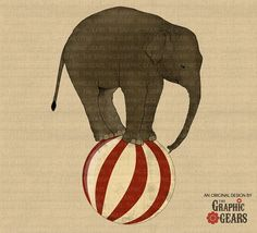 Circus Elephant Clip Art - Vintage Style Elephant on Ball clipart (personal or commercial use) - INSTANT DOWNLOAD