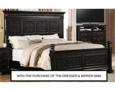 Queen Mansion Bed   Antique Black   Sam Levitz Furniture