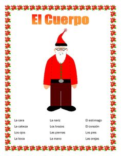 """#cybersmilesaleThis interactive unit contains four pages. It is a great tool to introduce students to body parts and to  a very important Spanish motto """"Cuerpo sano mente sana""""  Healthy Mind and Healthy body"""" The result of our double puzzle. .  It contains 1- Vocabulary page- 12 body parts and a word bank  2- Label the Papa Noel - Have students label the Papa Noel  and draw a heart for """"El Corazn"""" ."""