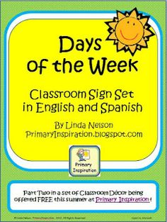 Classroom Freebies Too: Days of the Week Cards in English & Spanish