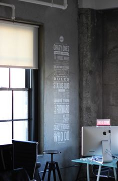 I adore the idea of having a favorite Quote on Wall {particularly <3 this Steve Jobs quote on the cement}.