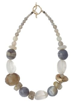 STORM NECKLACE Agate. Florite, Quartz and bronze are strung together in a storm cloud palette - 17 inches