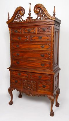 CONTEMPORARY CARVED HIGH BOY CHEST OF DRAWERS - Sold $400