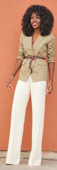 Get the same look, while protecting that blazer with an #Annienymotee #ToplessTee #undershirt! Camel And White Military Chic Outfit by Style Pantry