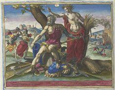 Raphaël Sadeler (I)   Cholerisch temperament, Raphaël Sadeler (I), 1583   Ceres met een sikkel en korenaren staat naast Mars, de god van de oorlog. Mars symboliseert het cholerische, opvliegende temperament. Bij zijn voeten liggen wapens. Achter hen plunderende en brandstichtende soldaten. Links Minerva. Bovenaan links, midden en rechts tekens van de dierenriem: Ram, Leeuw en Boogschutter, die passen bij het element vuur. Onder de voorstelling een vierregelig vers in het Latijn. Deze prent…