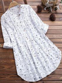 Haut à manches longues imprimé régulier * 1 chemises et chemisiers - ninacloak.com Camisa Formal, Loose Shirts, Long Blouse, Casual Tops, Shirt Blouses, Cotton Blouses, Cotton Linen, Printed Cotton, Blouses For Women