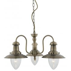 Victorian 3 Arm Ceiling Light Can Fit Flush or on Chain Antique