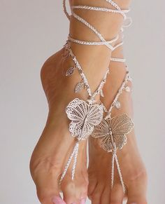 Bridal barefoot sandals White Butterfly Blue Crochet by FiArt