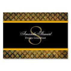 Monogrammed Gold Damask Patterned Business Card