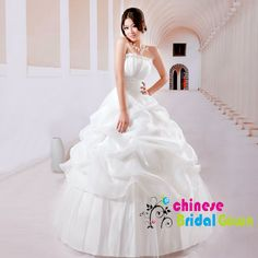 Style 3019, Striking Organza Ball Gown Strapless Chinese Wedding Dress by CBG.