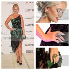 Vanity Fair American Hustle party at AGO. Wearing vintage Baracci and gorgeous emerald and diamond jewelry by Leon of Beverly Hills. Peacock ring was my favorite! Updo by Drybar