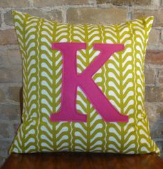 K monogrammed pillow case 20x20 any letter/colour by HAWThome, $32.00