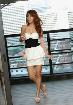 Strapless Crumple Slim Waist Hip Hugging Mini Dress White - BuyTrends.com