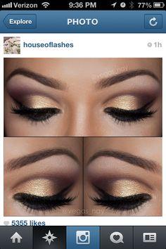 Pretty gold smoky eye makeup