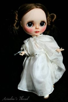 RESERVED.    Princess Leia, OOAK Blythe custom doll.