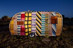 Marfa, Texas: Trailer covered with knitting