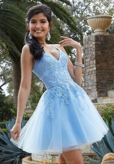 Stand out at your upcoming dance in this ultra chic Morilee short dress Leaving the audience in awe as you show off the dazzling lacey dress featu. Cute Prom Dresses, 15 Dresses, Pretty Dresses, Beautiful Dresses, Elegant Dresses, Blue Homecoming Dresses, Wedding Dresses, Summer Dresses, Awesome Dresses