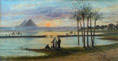 Painting, by Carlo Mancini, of the Great Pyramids on the distant shore of the Nile River. By Jean-Marc Pascolo (Own work) [CC-BY-SA-3.0 (http://creativecommons.org/licenses/by-sa/3.0)], via Wikimedia Commons