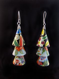 Jingle Cones Earrings by Emily Hickman, Tin Moon Jewelryworks. Vintage tin and sterling silver. Upcycled, found object, recycled.