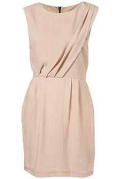 Topshop Nude Sleeveless Tuck Detail Dress