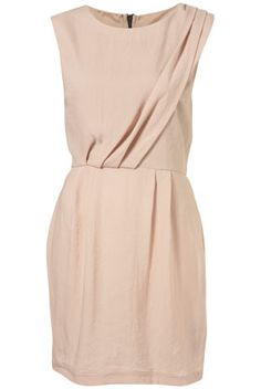 Topshop Nude Sleeveless Tuck Detail Dress