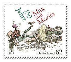 150 Jahre Max und Moritz auf Briefmarke von 2015