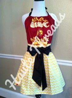 USC Trojans Halter Gameday Dress with yellow chevron skirt - www.hautethreadsboutique.com - $60 - made from YOUR favorite tee!
