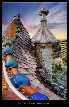 The Dragon Spine Roof Architecture of Casa Batlló by Antoni Gaudi, Barcelona, Spain :: HDR