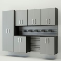 Pump up the organization and usability of your garage or basement with this silver, seven-piece cabinet set from Flow Wall System. The unique, all-purpose panel-and-hook design lets you rearrange the
