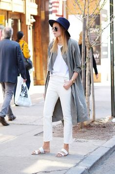 love the white slip on sandals