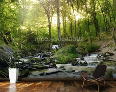 Forest Waterfall wallpaper mural room setting