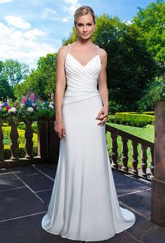 Brides: Sincerity Bridal. Stretch satin straight dress embellished by a sweetheart neckline.