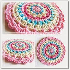 crochet mandala dishcloth 20 Unique and Beautiful Free Crochet Dishcloth Patterns - dishcloths? these are far too pretty to use as dishcloths! Beau Crochet, Crochet Mignon, Crochet Diy, Love Crochet, Crochet Crafts, Crochet Hooks, Tutorial Crochet, Crochet Flower, Bolero Crochet