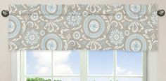 Shop for Sweet Jojo Designs Spa Blue, Taupe and White x Window Treatment Curtain Valance for Blue and. Get free delivery On EVERYTHING* Overstock - Your Online Nursery Decor Shop! Cotton Curtains, Grey Curtains, Valance Curtains, Bedroom Valances, Window Valances, Kids Window Treatments, Kitchen Valances, Nursery Decor, Nursery Ideas